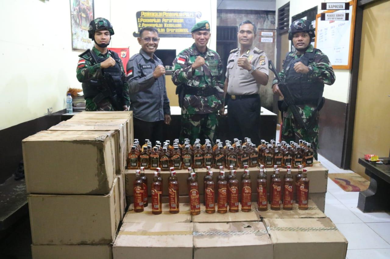 Jelang Tahun Baru, Satgas Pamtas RI-PNG Amankan 1.416 Botol Miras Ilegal