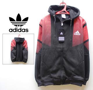 Jaket Distro Adidas Fleece Hitam dan Merah