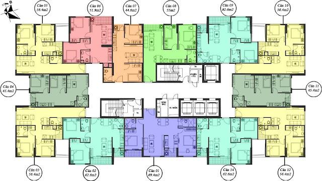 Mặt bằng căn hộ chung cư tòa M4 - Mipec Kiến Hưng