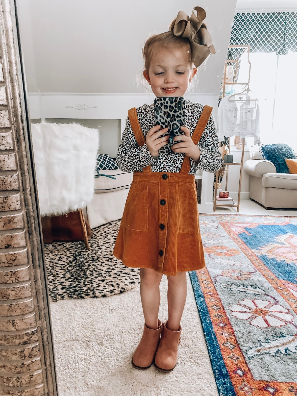 Target Fall 2019 Finds for Kids - Madeline's Picks - Corduroy Skirtall Dress, Leopard Top and Booties - Something Delightful Blog #Kidsfallfashion