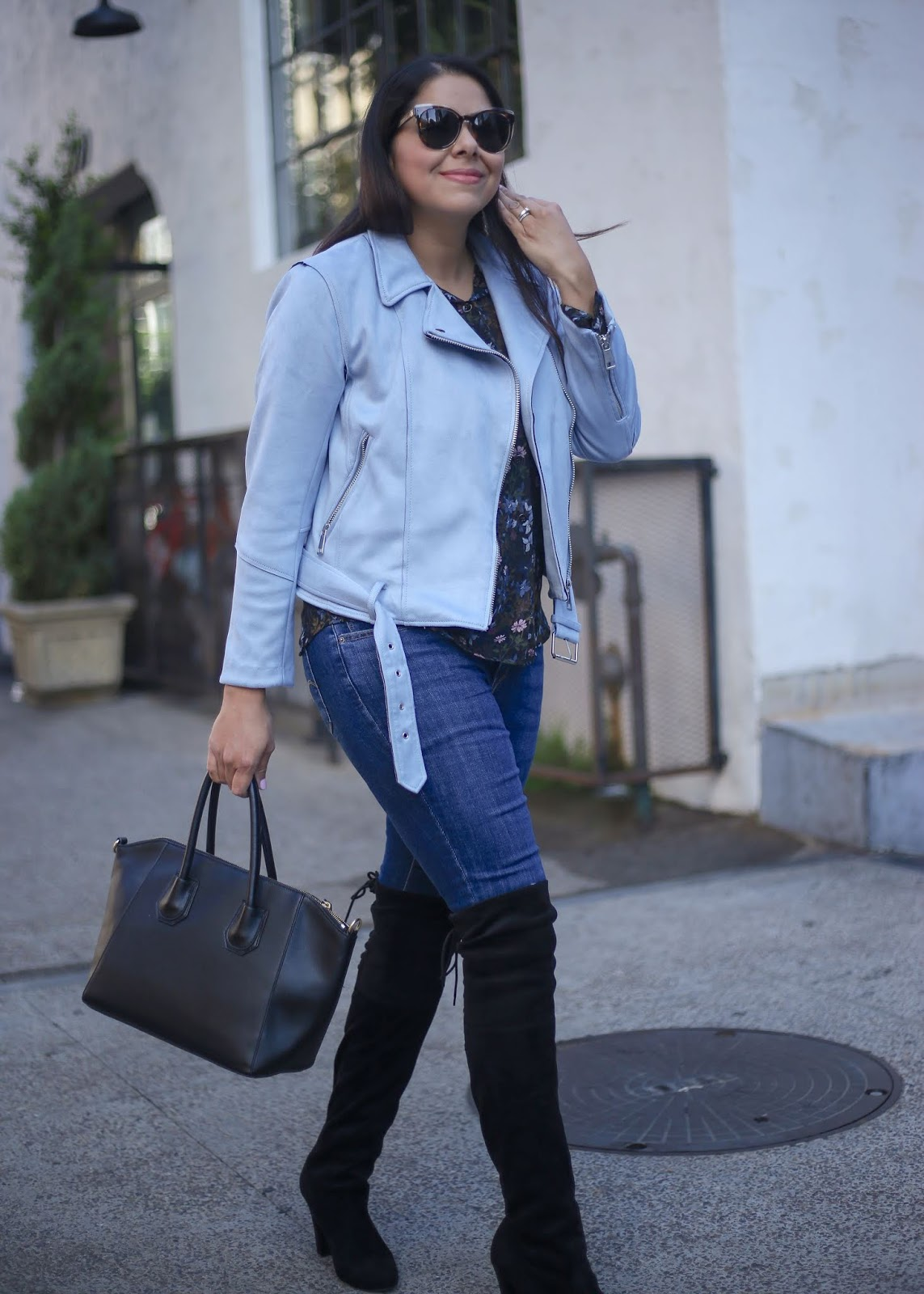 baby blue moto jacket with over the knee boots, latina fashion blogger in san diego