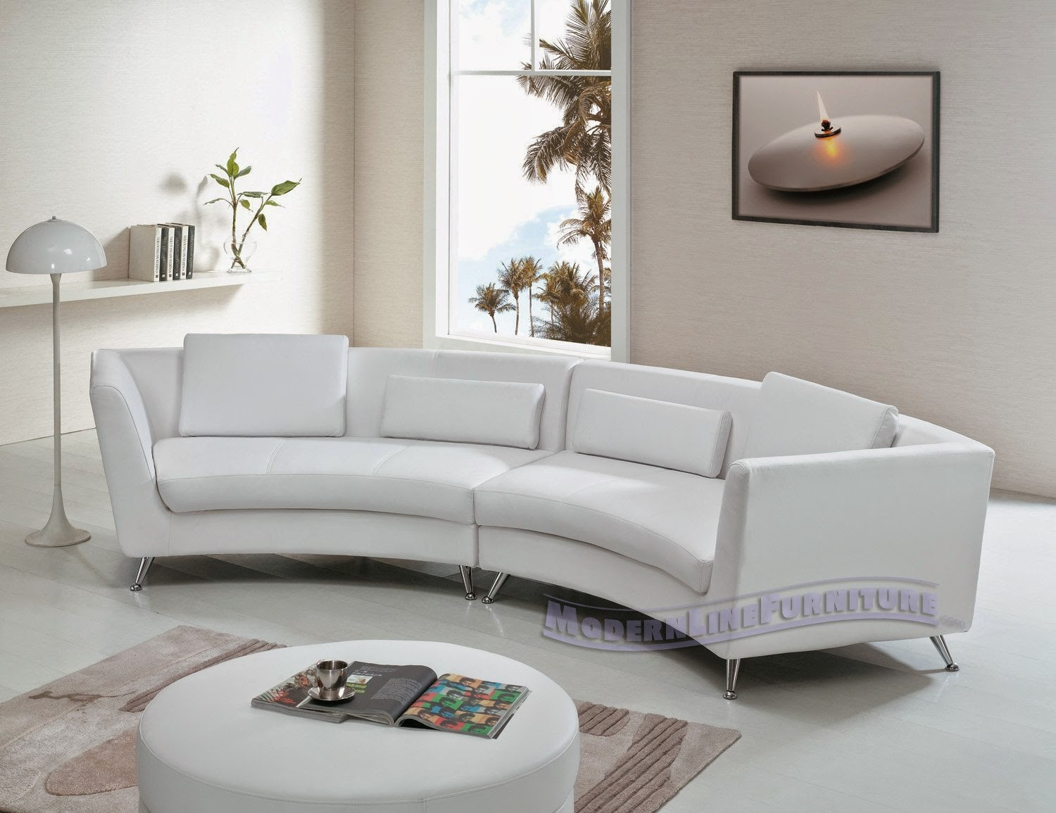 Contemporary Furniture White Leather Long Curved Sofa