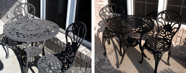 Wrought iron furniture before and after spray painting