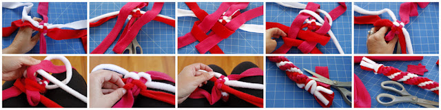 DIY double spiral woven fleece dog tug toy, step-by-step how to make