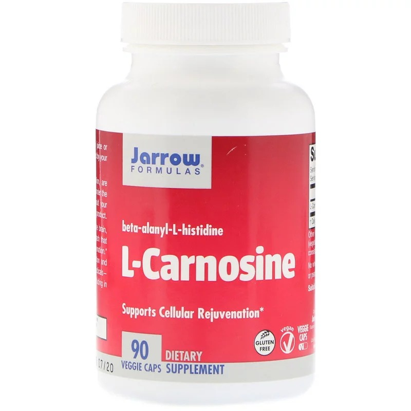 Jarrow Formulas, L-Carnosine, Beta-Alanyl-L-Histidine, 90 растительных капсул