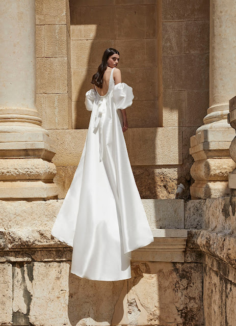 Puffy Sleeves-Alon Liven-wedding dresses-off the shoulder cape-Weddings by K'Mich Philadelphia PA