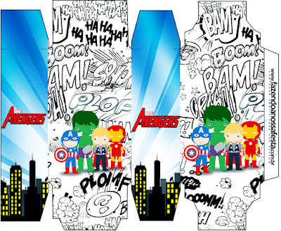 Cajas de Los Vengadores Chibi para imprimir gratis.
