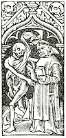 Book of Hours illustration. Woodcut that depicts a monk and a skeleton side by side. The upper border features more skulls.