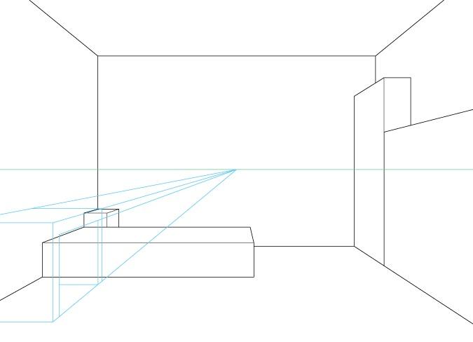 Perspektif satu titik menggambar meja komputer