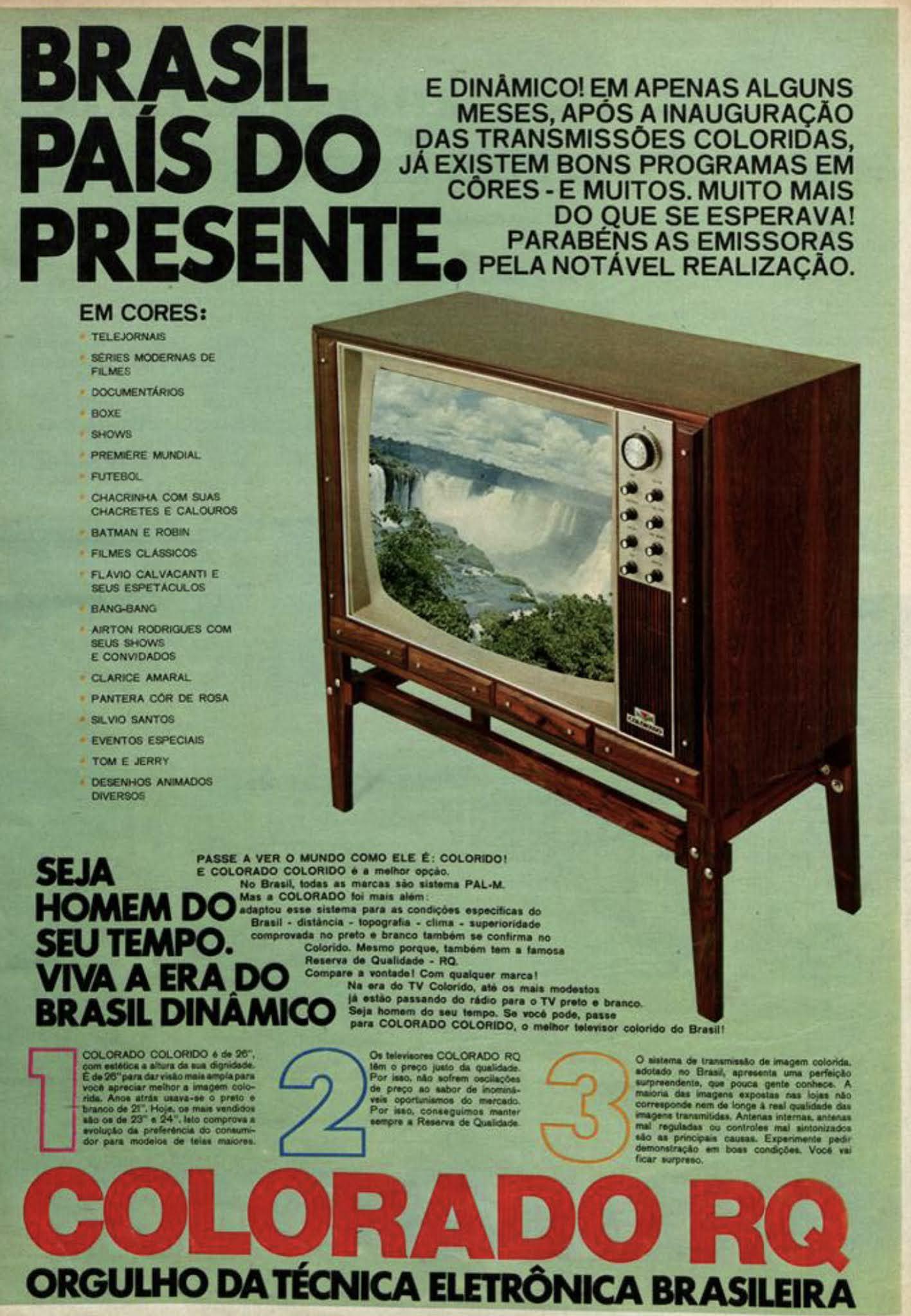 Anúncio da Colorado promovendo seu aparelho de TV a cores em 1972