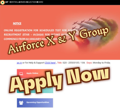 Indian Air force Airforce X & Y Group Recruitment Online form, Check Qualification Apply Now