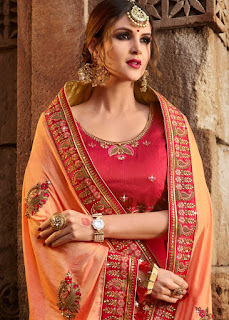 Art silk Peach with heavy blouse indian party wear fancy saree front design