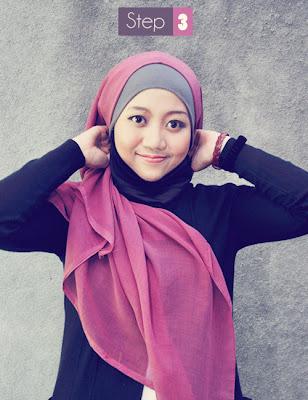 Cara memakai jilbab segi empat kreasi modis cantik
