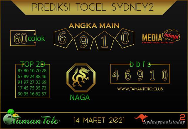 Prediksi Togel SYDNEY 2 TAMAN TOTO 14 MARET 2021
