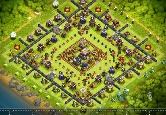 Base Hybrid TH 11 COC Update Bomb Tower Terbaru 2017 Tipe 3
