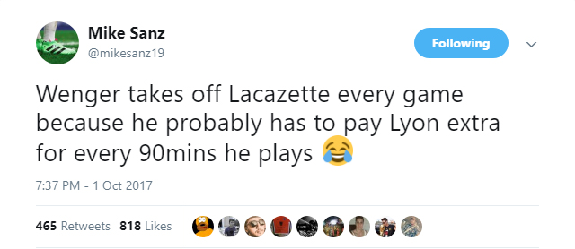 Arsenal fan @mikesanz19 has theory about why Alexandre Lacazette constantly subbed out