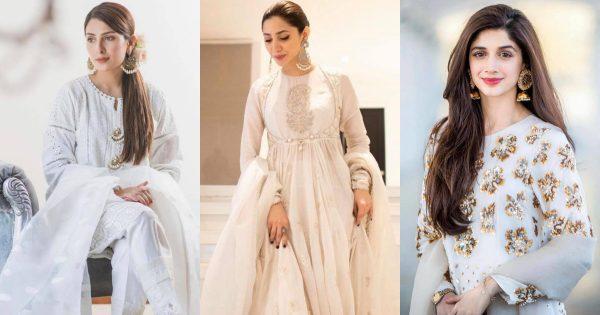 Stunning Looks of Famous Pakistani Celebrities in White Dress