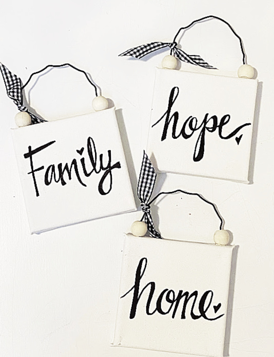 home, family and hope signs