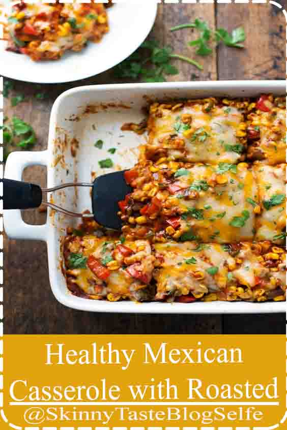 4.8 | ★★★★★ This Healthy Mexican Casserole has roasted corn, roasted bell peppers, cheese, enchilada sauce, and corn tortillas. Perfect leftovers for lunches #mexican #casserole #vegetarian #dinner #easy #recipe