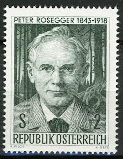 Austria 1968, Peter Rosegger (1843-1918), writer, poet