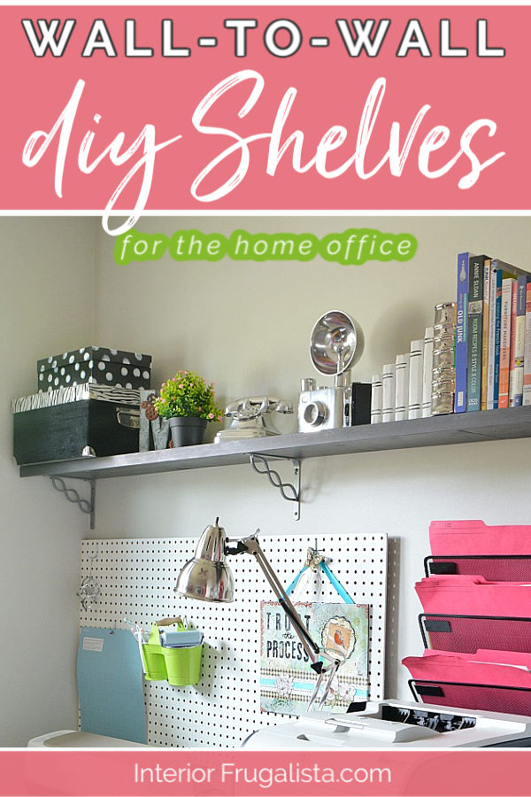 Home Office DIY Wall-To-Wall Shelves