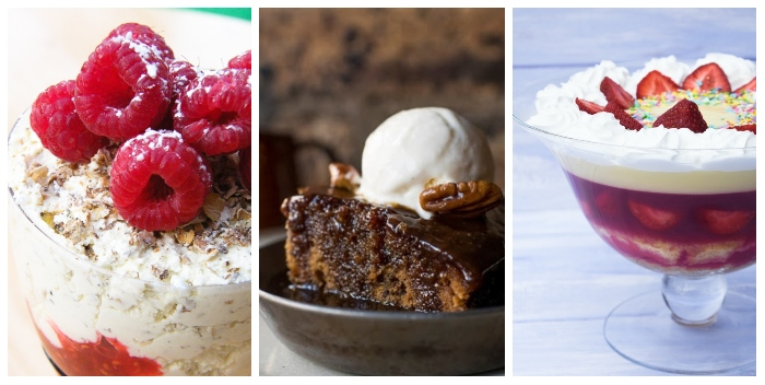 Scottish desserts and puddings - cranachan, sticky toffee pudding and strawberry trifle
