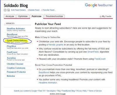 suscripcion blog por email