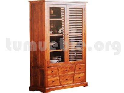 mueble vitrina en teca 4131