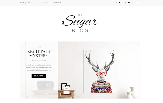 Sugar Responsive Personal Blog Lifestyle Fashions Girly Update Beauty Blogger Template Theme