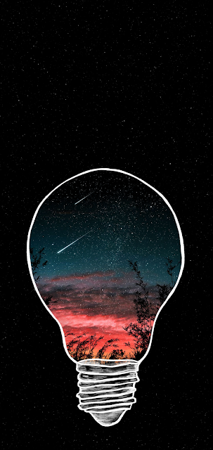 Starry night in the light bulb