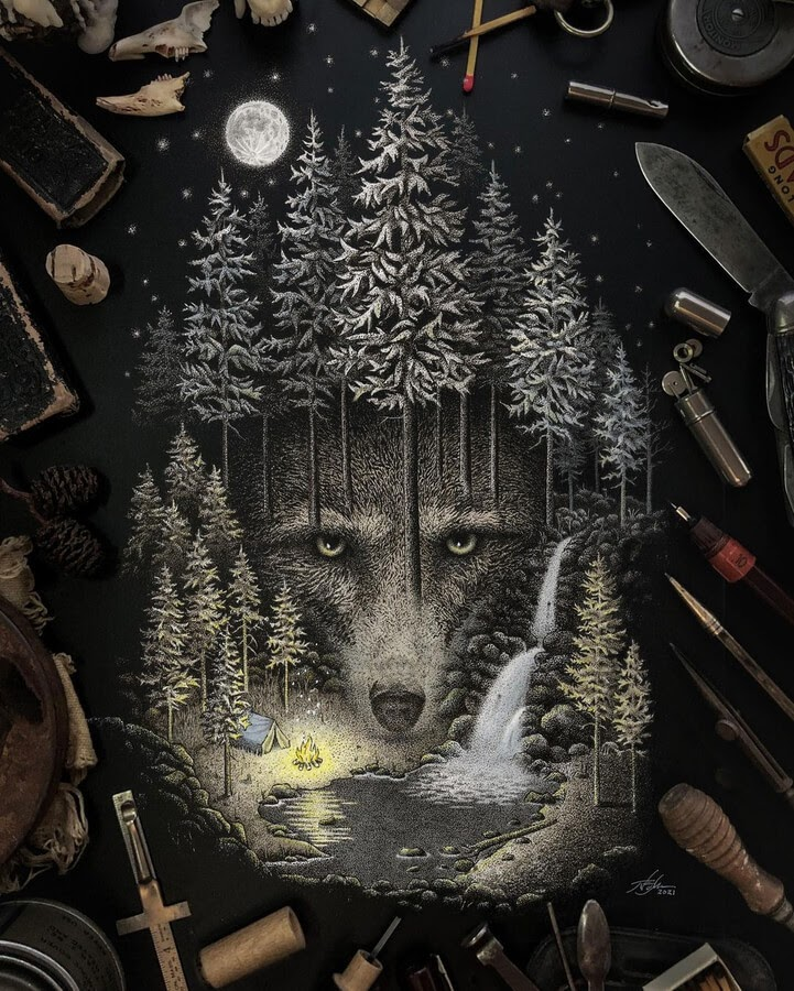 01-The-wolf-in-the-woods-Nicholas-Baker-www-designstack-co