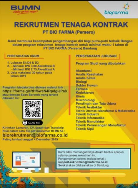 Rekrutman Tenaga Kontrak BUMN PT Bio Farma Deadline 4 Desember 2019