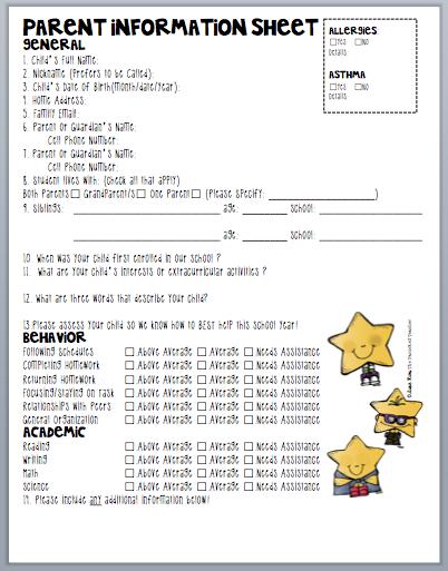 parents information sheet