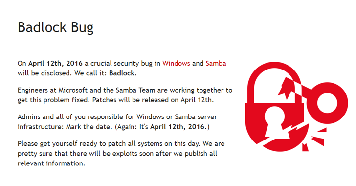 Badlock — Unpatched Windows-Samba Vulnerability Affects All Versions of Windows