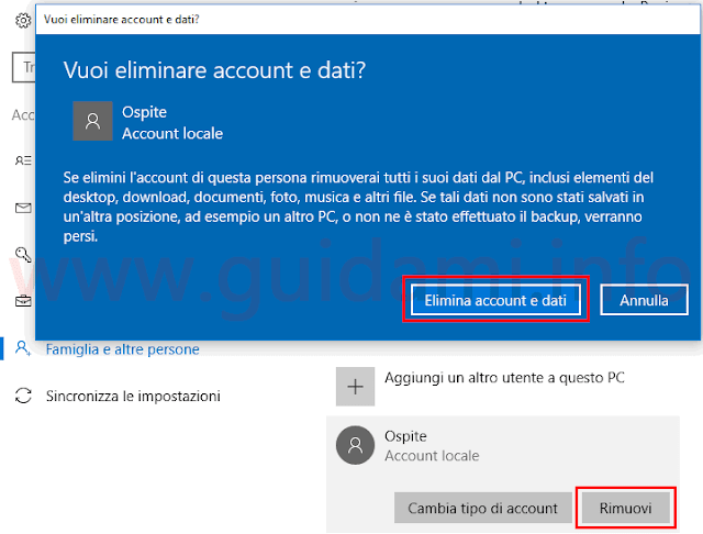 Windows 10 eliminare account Ospite