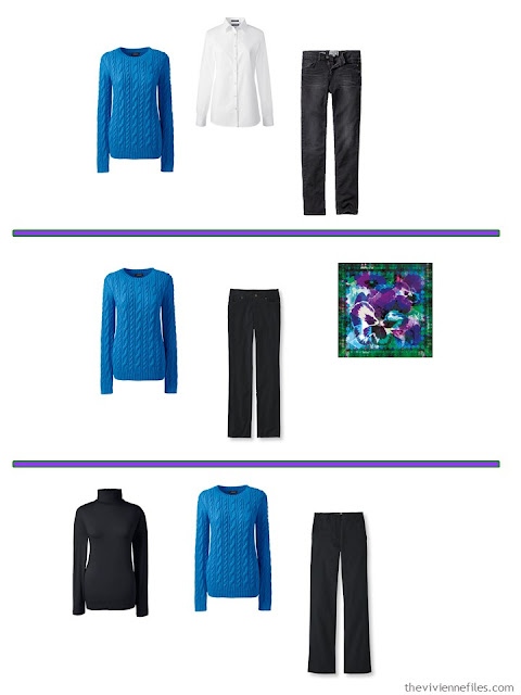 3 ways to wear a bright blue sweater with A Common Wardrobe in black and white