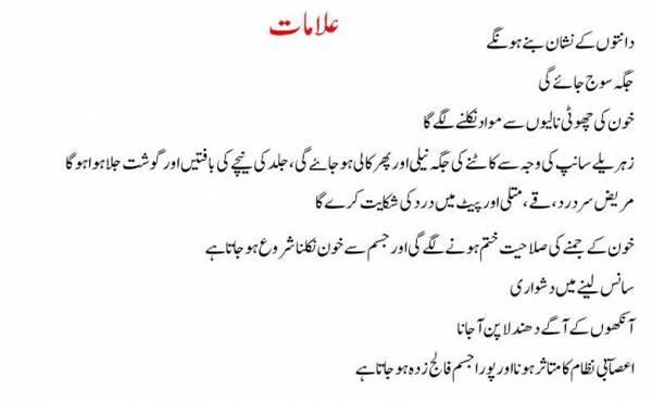 Snakebite Symptoms in urdu