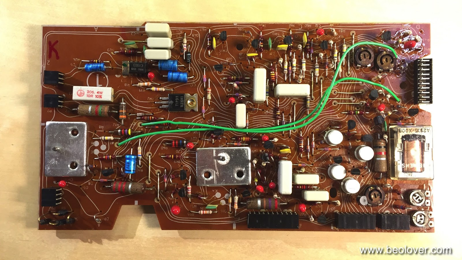 Beolover Beogram 4002 5513 Replacing The Electrolytic Capacitors Dc Motor Controller Using Transistor Tip31 Red And Blue Parts Are That Need To Be Replaced This Shows Control Section In Detail