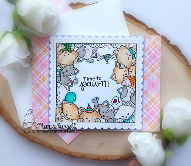 Kitty Birthday Card by Maria Russell | Newton's Block Party Stamp Set and Frames Squared Die Set by Newton's Nook Designs #newtonsnook #handmade