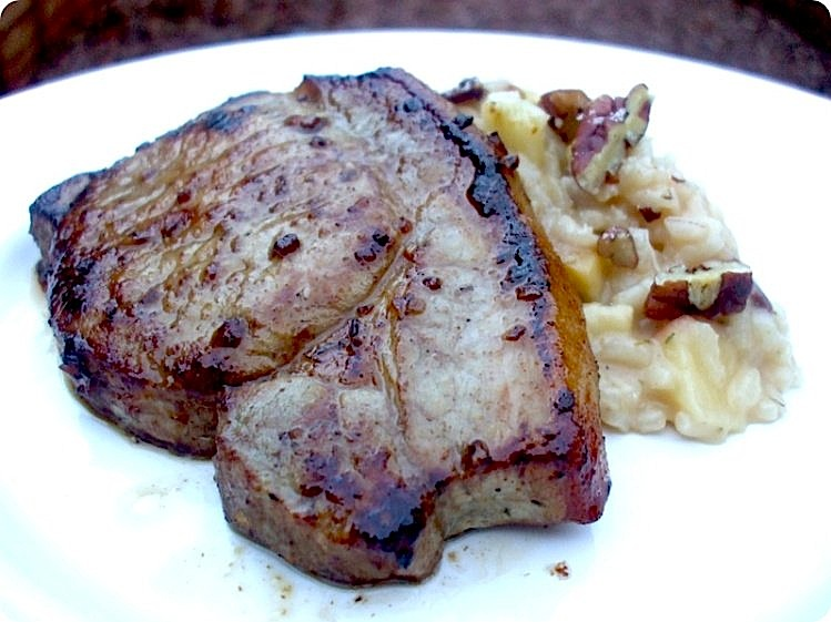 Pan-Seared Pork Steak with Apple & Pecan Risotto