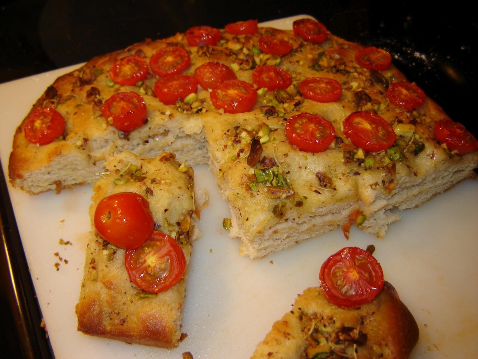dinner is vegan cherry tomato focaccia bread