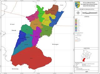 Peta Administrasi Kecamatan Karangawen, Kabupaten Demak ...