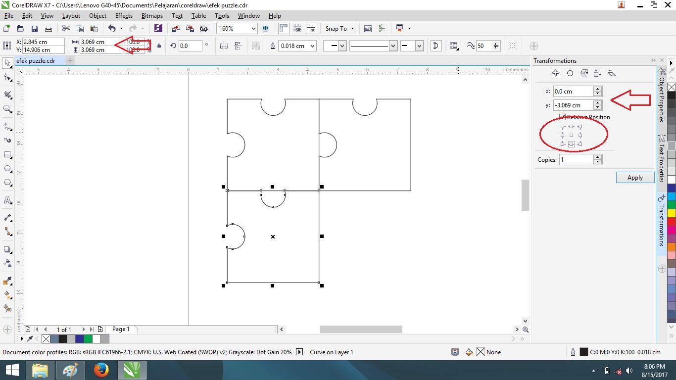 Gunakan smart fill tool klikan kedua shape setengah lingkaran yang menggabung dengan shape pertama maka otomatis akan mewarnai dengan sendirinya