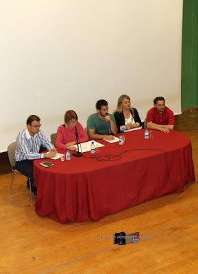 Responsables del proyecto junto con la concejala de cultura (izq.) y la alcaldesa de Aguilar (dcha)