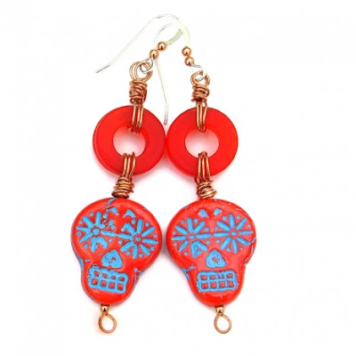 sugar skull halloween earrings