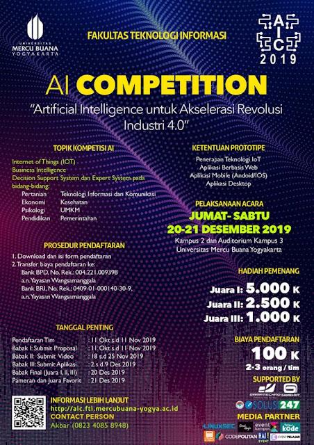Artificial Intelligence Competition (AIC) FTI – Universitas Mercu Buana Yogyakarta Deadline 11 November 2019