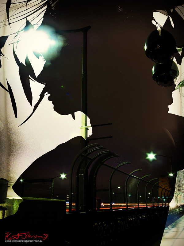 Opening silhouette for the Constructivist style fashion photoshoot - White Nights Black Knights - incorporating the Sydney Harbour Bridge at night, concept and photography by Kent Johnson