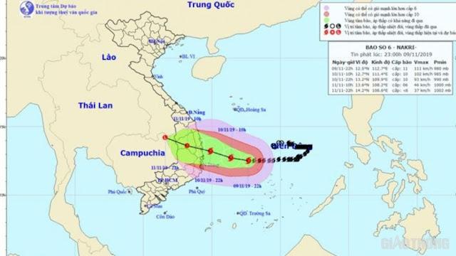 Tối nay (10/11), bão số 6 cách bờ biển Quảng Ngãi-Khánh Hòa khoảng 60km
