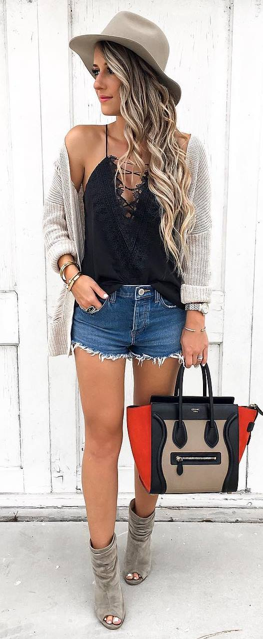 what to wear with a hat : cardigan + lace up top + denim shorts + bag + boots