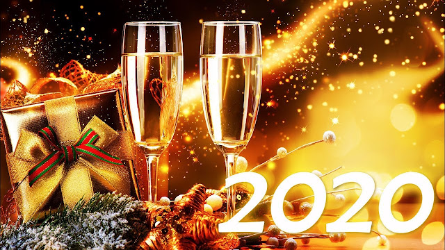 Imagen con dos copas para brindar por el año nuevo 2020